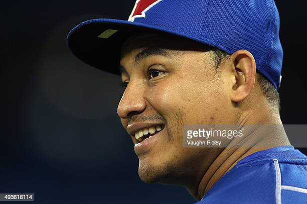 Ezequiel Carrera of the Toronto Blue Jays looks on prior to game five of the American League Championship Series between the Toronto Blue Jays and...