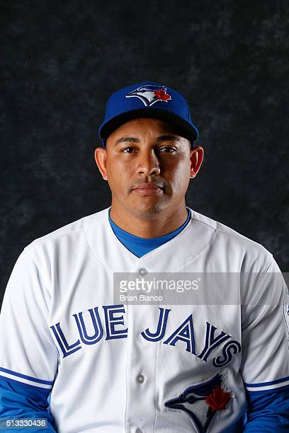 Ezequiel Carrera of the Toronto Blue Jays poses for a photo during the Blue Jays' photo day on February 27 2016 in Dunedin Florida