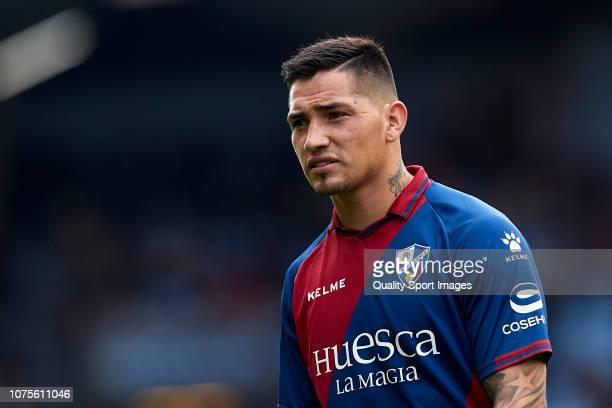 Ezequiel 'Chimy' Avila of SD Huesca looks on during the La Liga match between RC Celta de Vigo and SD Huesca at AbancaBalaídos on December 01 2018 in...
