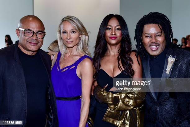 Ezequiel de la Rosa Indira Cesarine Nichole Galicia and TyRon Mayes attend the Kyle X Shahida Fashion Show at Pier 59 Studios on September 08 2019 in...