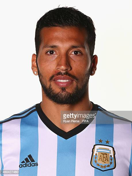Ezequiel Garay of Argentina poses during the official FIFA World Cup 2014 portrait session on June 10 2014 in Belo Horizonte Brazil