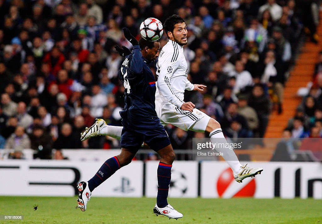 Ezequiel Garay of Real Madrid jumps for a high ball during the UEFA ... a25990b70