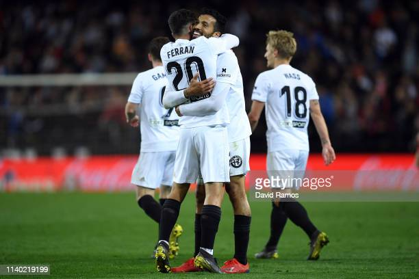 Ezequiel Garay of Valencia celebrates scoring his side's second goal during the La Liga match between Valencia CF and Real Madrid CF at Estadio...