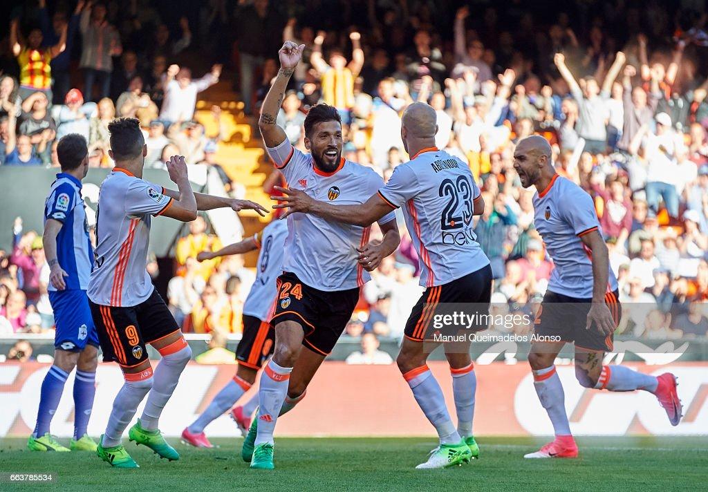 Ezequiel Garay of Valencia celebrates scoring his team's first goal during the La Liga match between Valencia CF and Deportivo de La Coruna at Mestalla Stadium on April 2, 2017 in Valencia, Spain.