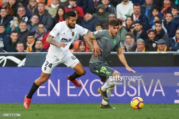 Ezequiel Garay of Valencia CF and yTheo Hernandez of Real Sociedad during the La Liga match between Valencia and Real Sociedad at Estadio de Mestalla...