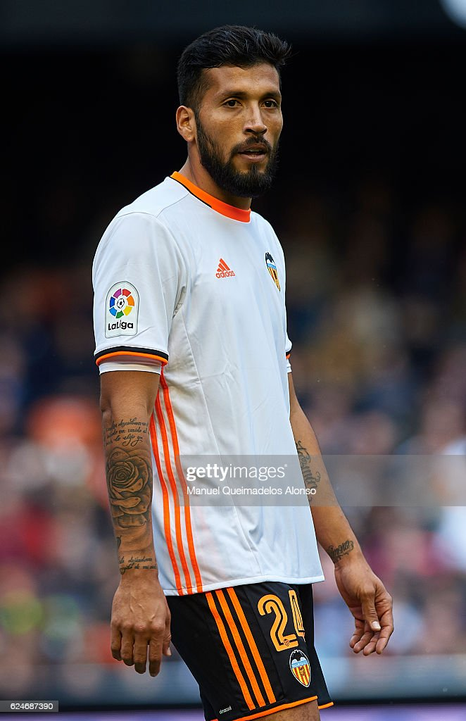 Ezequiel Garay of Valencia looks on during the La Liga match between Valencia CF and Granada CF at Mestalla Stadium on November 20, 2016 in Valencia, Spain.