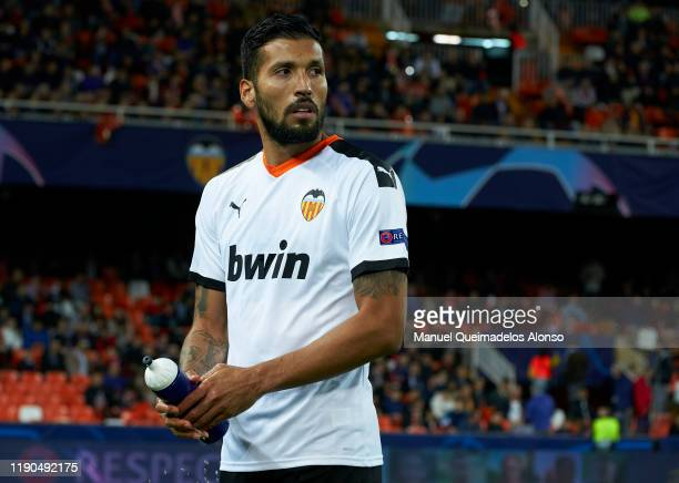 Ezequiel Garay of Valencia looks on prior to the UEFA Champions League group H match between Valencia CF and Chelsea FC at Estadio Mestalla on...