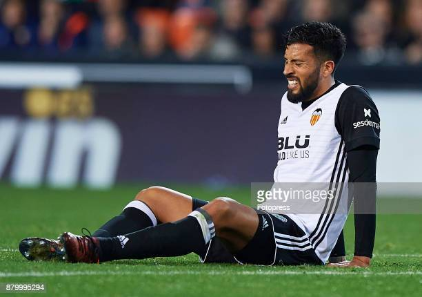 Ezequiel Garay of Valencia reacts on the pitch during the La Liga match between Valencia and Barcelona at Estadio Mestalla on November 26 2017 in...