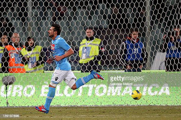 Ezequiel Ivan Lavezzi of SSC Napoli celebrates after scoring a goal during the Serie A match between ACF Fiorentina and SSC Napoli at Stadio Artemio...