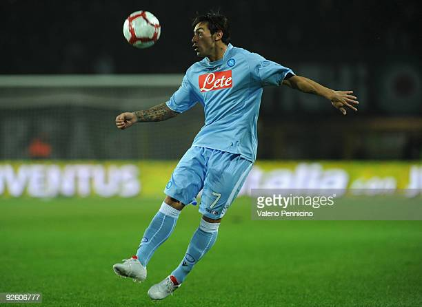 Ezequiel Ivan Lavezzi of SSC Napoli in action during the Serie A match between Juventus FC and SSC Napoli at Olimpico Stadium on October 31 2009 in...