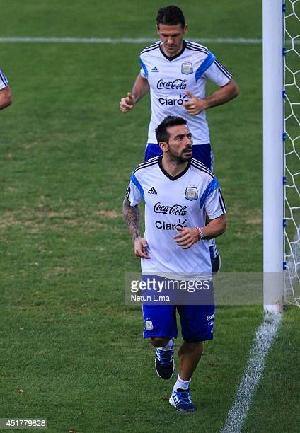 Ezequiel Lavezzi during the Argentina training session at Cidade do Galo on July 6 2014 in Vespasiano Brazil
