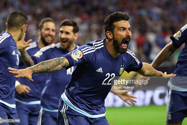 Ezequiel Lavezzi of Argentina celebrates scoring a first half goal against the United States during a 2016 Copa America Centenario Semifinal match at...