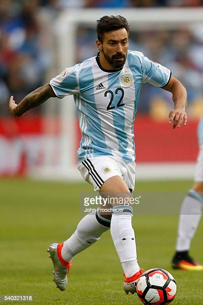 Ezequiel Lavezzi of Argentina drives the ball during a group D match between Argentina and Bolivia at CenturyLink Field as part of Copa America...