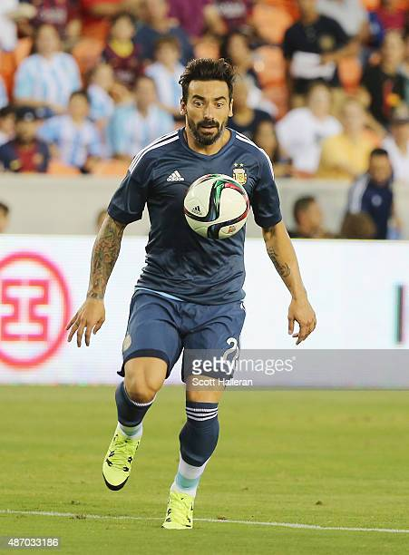 Ezequiel Lavezzi of Argentina in action on the field during their International friendly match against Bolivia at BBVA Compass Stadium on September 4...