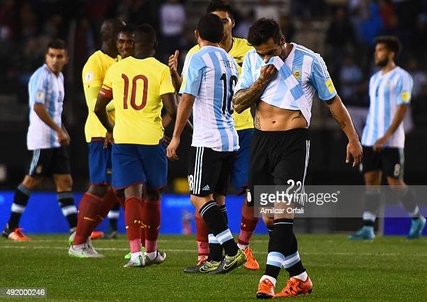 Ezequiel Lavezzi of Argentina looks dejected after a match between Argentina and Ecuador as part of FIFA 2018 World Cup Qualifier at Monumental...