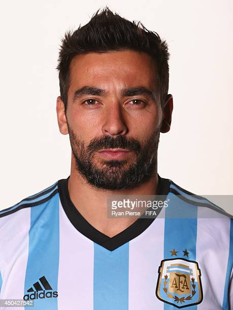 Ezequiel Lavezzi of Argentina poses during the official FIFA World Cup 2014 portrait session on June 10 2014 in Belo Horizonte Brazil