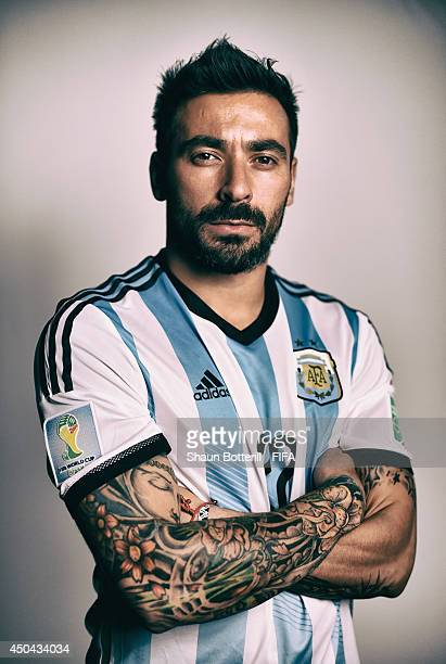 FILTERS Ezequiel Lavezzi of Argentina poses during the official FIFA World Cup 2014 portrait session on June 10 2014 in Belo Horizonte Brazil