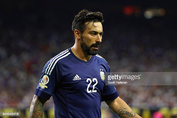 Ezequiel Lavezzi of Argentina reacts in the first half against the United States during a 2016 Copa America Centenario Semifinal match at NRG Stadium...