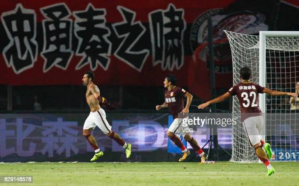Ezequiel Lavezzi of Hebei China Fortune celebrates after a goal during the 21st round match of 2017 China Super League between Hebei China Fortune FC...