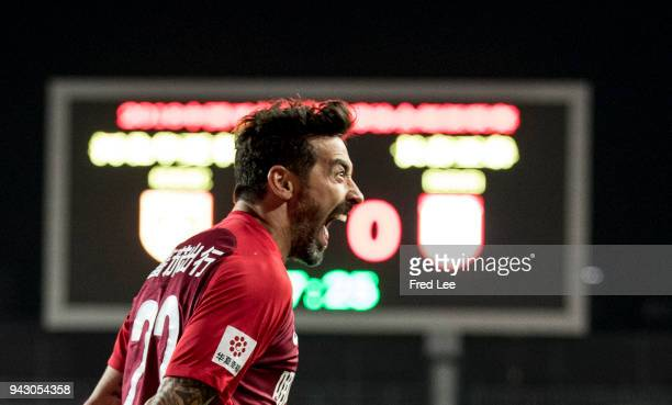 Ezequiel Lavezzi of Hebei China Fortune celebrates after scoring a goal during the 2018 Chinese Super League match between Hebei China Fortune and...
