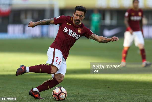 Ezequiel Lavezzi of Hebei China Fortune controls the ball during the Chinese Super League match between Hebei China Fortune and Guangzhou Evergrande...