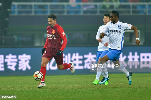 Ezequiel Lavezzi of Hebei China Fortune controls the ball during the 2018 Chinese Football Association Super League first round match between Tianjin...