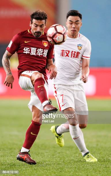 Ezequiel Lavezzi of Hebei China Fortune FC in action during the Chinese Super League match between Tianjin Quanjian FC and Hebei China Fortune FC at...
