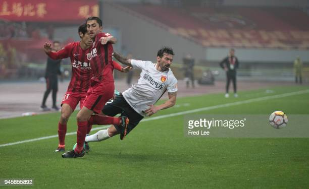 Ezequiel Lavezzi of Hebei China Fortune in action during 2018 China Super League match between Shanghai SIPG and Hebei China Fortune at Shanghai...
