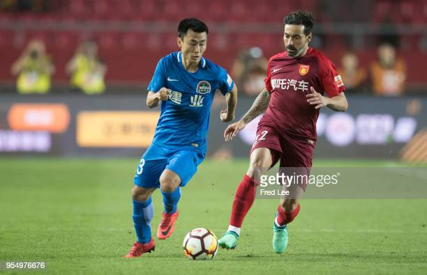 Ezequiel Lavezzi of Hebei China Fortune in action during 2018 Chinese Super League match between Hebei China Fortune adn Henan Jianye at Langfang...