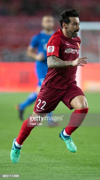 Ezequiel Lavezzi of Hebei China Fortune in action during 2018 Chinese Super League match between Hebei China Fortune and Henan Jianye at Langfang...