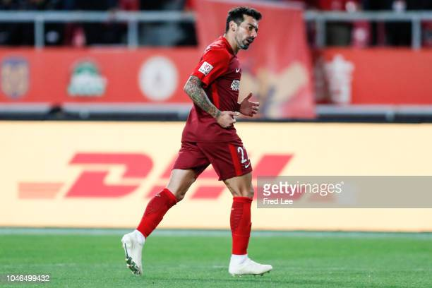 Ezequiel Lavezzi of Hebei China Fortune in action during the 2018 Chinese Super League match between Hebei China Fortune v Guangzhou Evergrande...