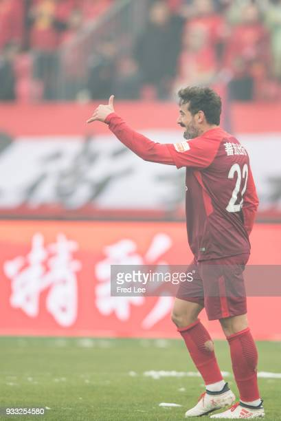 Ezequiel Lavezzi of Hebei China Fortune in action during the 2018 Chinese Super League match between Hebei China Fortune and Shandong Luneng Taishan...