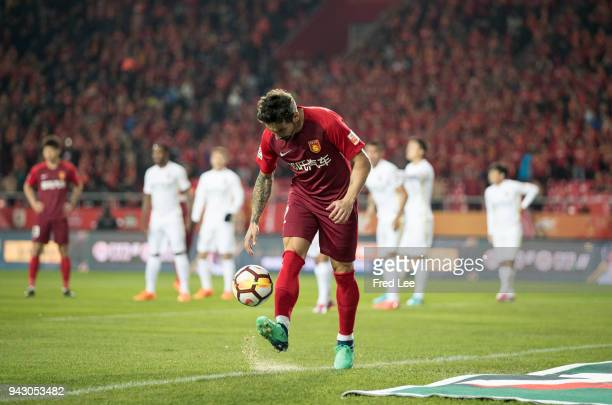 Ezequiel Lavezzi of Hebei China Fortune in action during the 2018 Chinese Super League match between Hebei China Fortune and Changchun Yatai at...