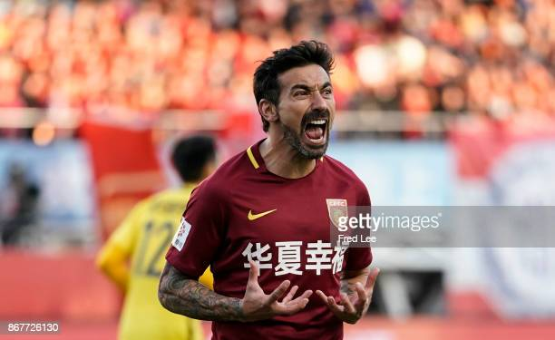 Ezequiel Lavezzi of Hebei China Fortune in action during the Chinese Super League match between Hebei China Fortune and Guangzhou Evergrande at...