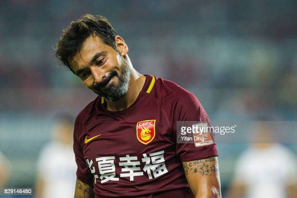 Ezequiel Lavezzi of Hebei China Fortune reacts during the China Super League match between Hebei China Fortune and Shanghai SIPG at Qinhuangdao...