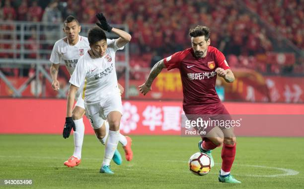 Ezequiel Lavezzi of Hebei China Fortune scores his team's goal during the 2018 Chinese Super League match between Hebei China Fortune and Changchun...