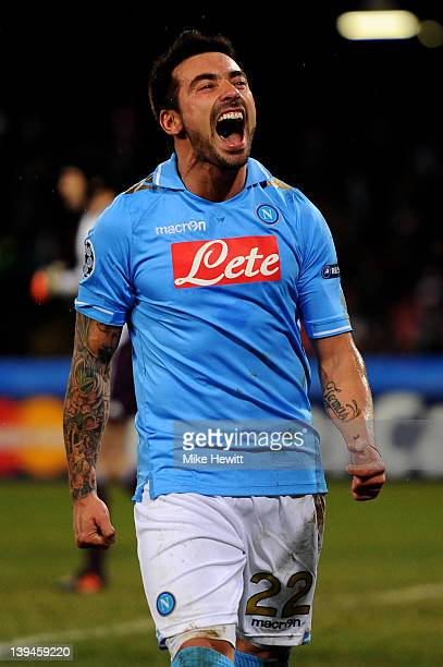 Ezequiel Lavezzi of Napoli celebrates after scoring his team's third goal during the UEFA Champions League round of 16 first leg match between SSC...