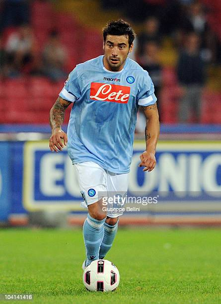 Ezequiel Lavezzi of Napoli in action during the Serie A match between Napoli and Bari at Stadio San Paolo on September 12 2010 in Naples Italy
