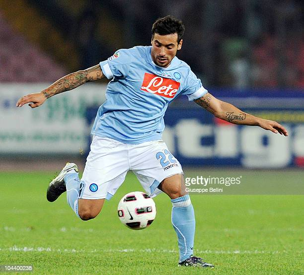 Ezequiel Lavezzi of Napoli in action during the Serie A match between Napoli and Chievo Verona at Stadio San Paolo on September 22 2010 in Naples...