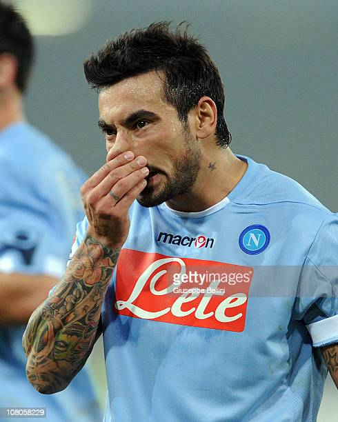 Ezequiel Lavezzi of Napoli in action during the Serie A match between Napoli and Fiorentina at Stadio San Paolo on January 15 2011 in Naples Italy