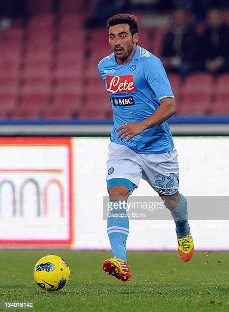 Ezequiel Lavezzi of Napoli in action during the Serie A match between SSC Napoli and SS Lazio at Stadio San Paolo on November 19 2011 in Naples Italy