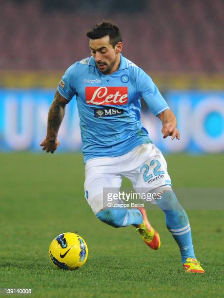 Ezequiel Lavezzi of Napoli in action during the Serie A match between SSC Napoli and AC Chievo Verona at Stadio San Paolo on February 13 2012 in...