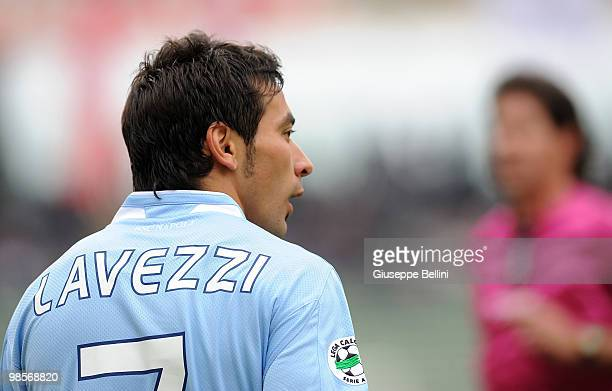 Ezequiel Lavezzi of Napoli in action during the Serie A match between AS Bari and SSC Napoli at Stadio San Nicola on April 18 2010 in Bari Italy