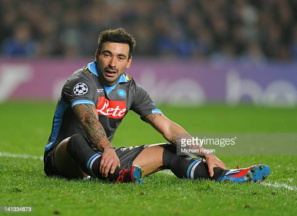 Ezequiel Lavezzi of Napoli looks despondent during the UEFA Champions League Round of 16 second leg match between Chelsea FC and SSC Napoli at...