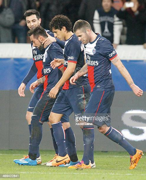 Ezequiel Lavezzi of Paris SaintGermain celebrate his goal with Javier Pastore Marquinhos and Jeremy Menez during the French Ligue 1 between Paris...