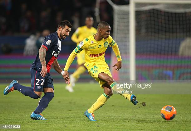 Ezequiel Lavezzi of PSG and Chaker Alhadhur of Nantes in action during the french Ligue 1 match between Paris SaintGermain FC and FC Nantes at the...