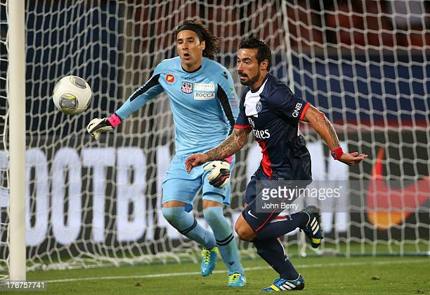 Ezequiel Lavezzi of PSG and Guillermo Ochoa goalkeeper of AC Ajaccio in action during the Ligue 1 match between Paris Saint Germain FC and AC Ajaccio...