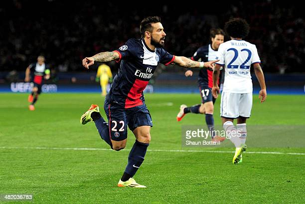 Ezequiel Lavezzi of PSG celebrates after scoring the opening goal during the UEFA Champions League quarter final first leg match between Paris Saint...