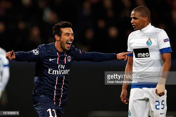 Ezequiel Lavezzi of PSG celebrates scoring his teams second goal of the game during the Group A UEFA Champions League match between Paris...