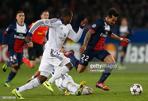 Ezequiel Lavezzi of PSG in action during the UEFA Champions League Group C match between Paris Saint Germain and RSC Anderlecht at Parc des Princes...